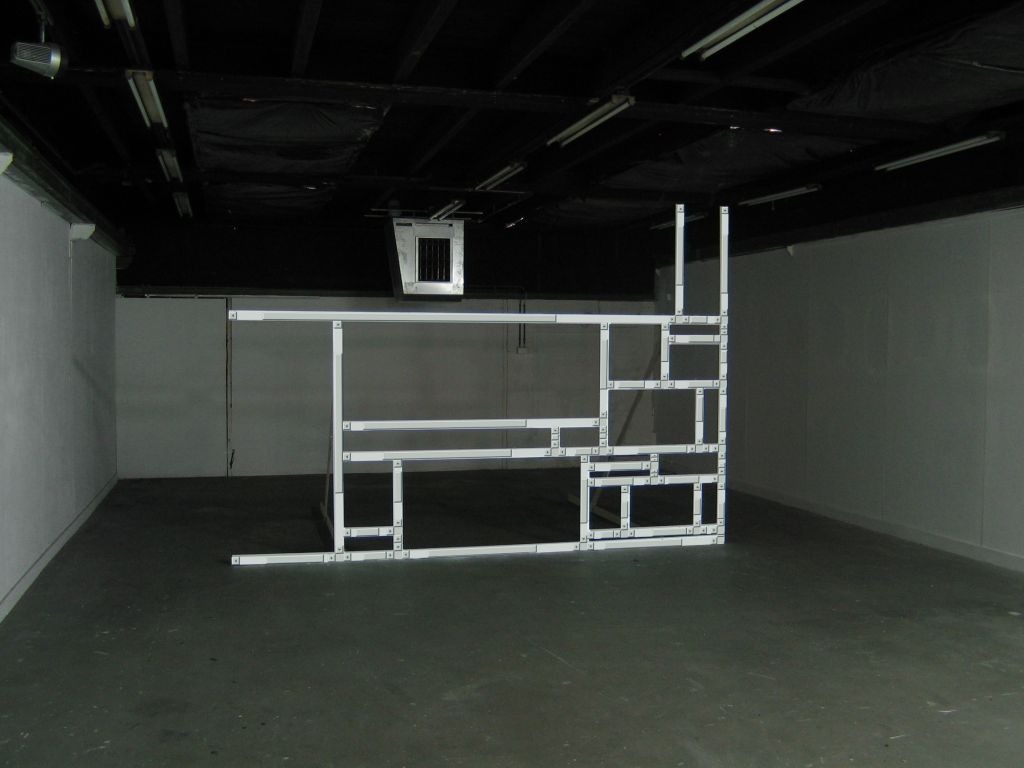 Jan Robert Leegte. Scrollbar Composition, 2005. HTML, JavaScript, computer projection, wooden construction.